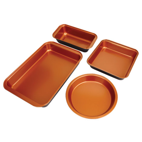copper 4 pc bakeware set