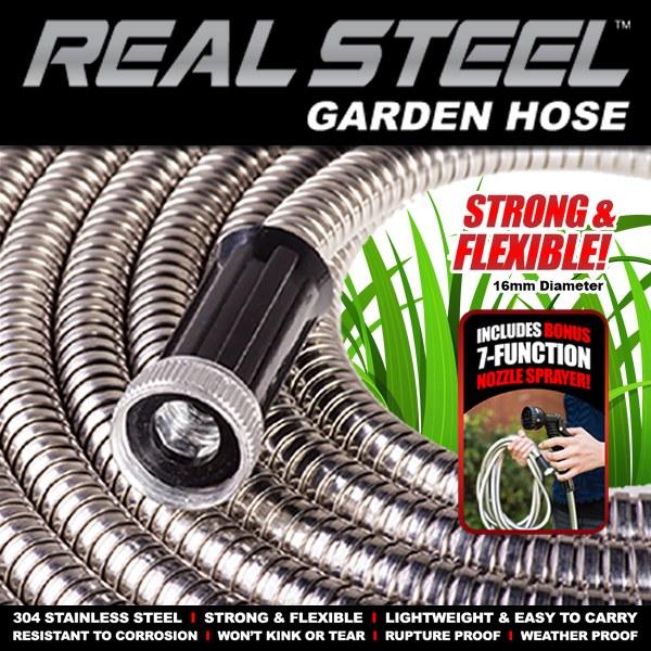 Real Steel Metal Garden Hose 25 Ft As Seen On Tv